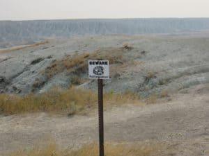 Rattle Snake Sign at Badlands National Park