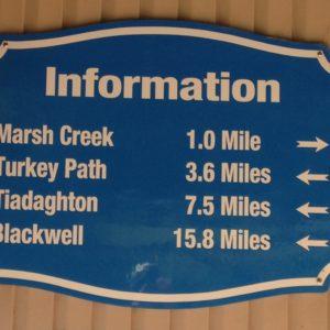 Mile Sign along the Pine Creek Rail Trail