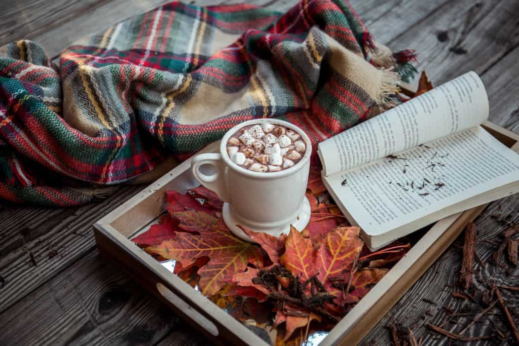 book and hot chocolate in fall setting