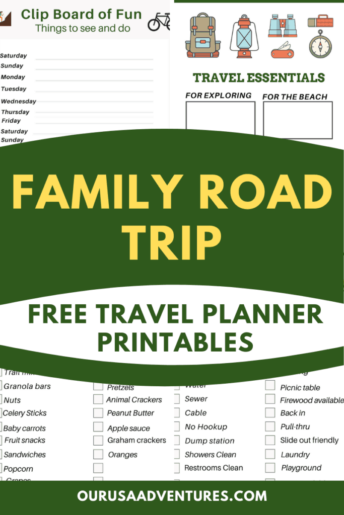 Road trip planning printables