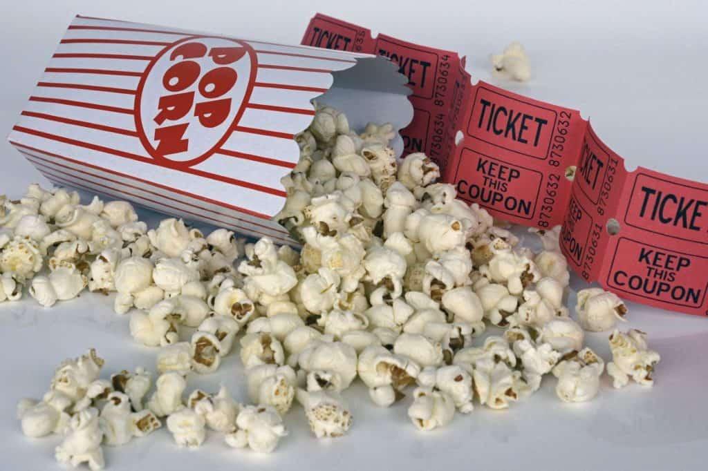 popcorn and movie ticket