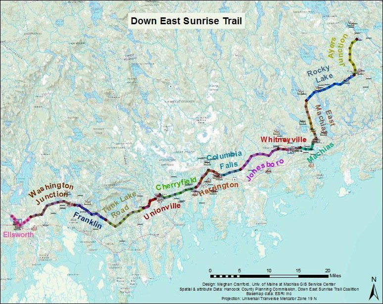 map of the Down East Sunset Trail