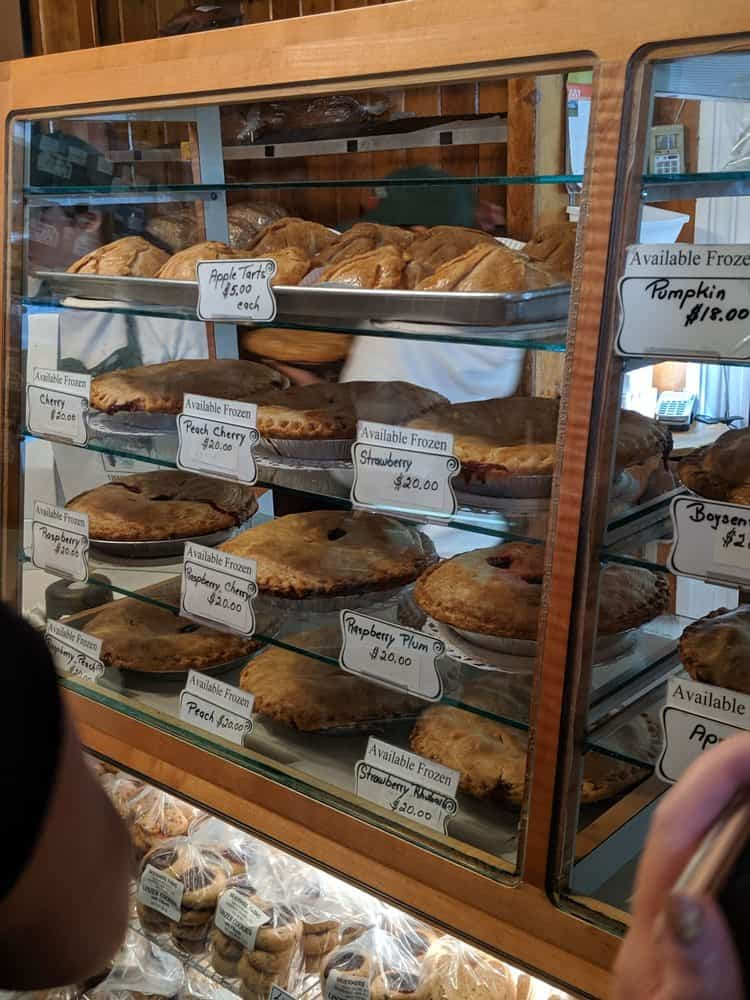 Display of pies inside Briemere Farms